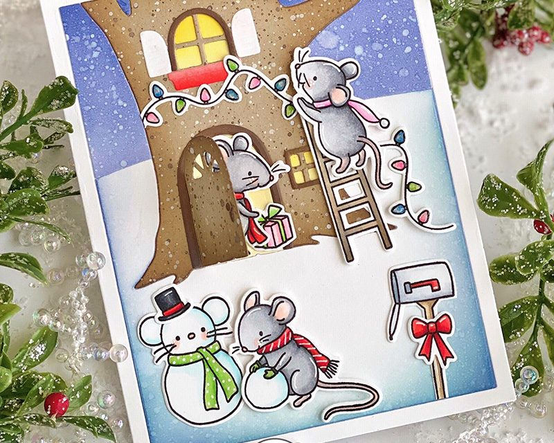 October Day 4 | Merry Mice and Snowball Fight and Treehouse Scene Die