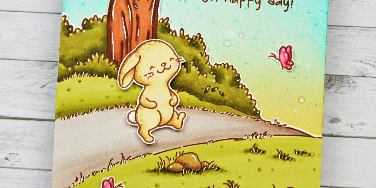 Meadow Bunnies + Pathway Background with Marine